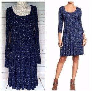 Old Navy -Navy & Tan Dotted Jersey Dress
