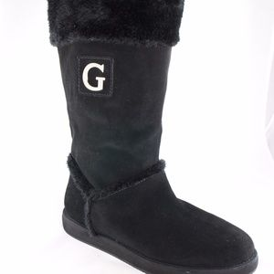 GUESS Fur-Lined Black Suede Calf Boots Size 10/11