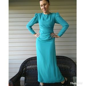 Ruched tailored 80s gown