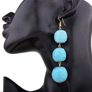 Jewelry - Light Blue Thread Ball Earrings