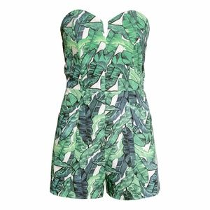 H&M Palm Print Strapless Jumpsuit