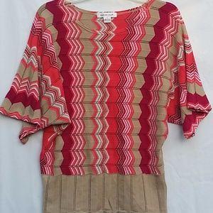 August Silk Sweater M Coral Pink Beige Chevron