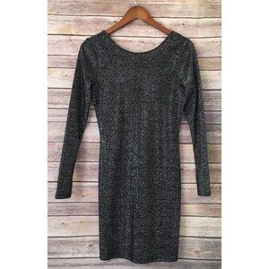 H&M black metallic bodycon knit dress