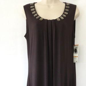 Jones New York Dress S Sorento Brown Jewel Stretch