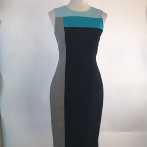 Calvin Klein Black, blue, gray sheath dress size 2