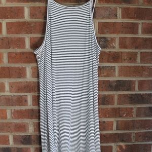 black & white striped high A-line neck dress
