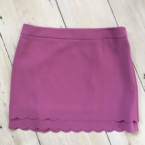 NWT LOFT Mauve Scalloped Hem Skirt