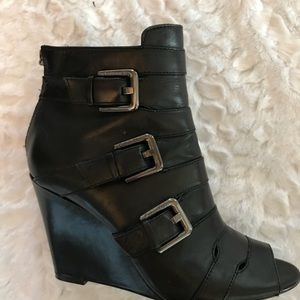 CALVIN KLEIN Leather Wedge Side Buckle Booties