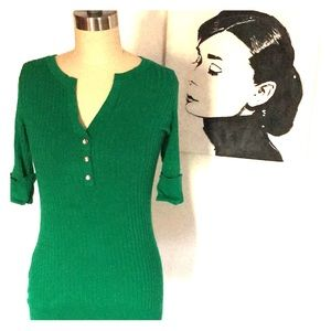 V neck green holiday sweater w/ rhinestone buttons