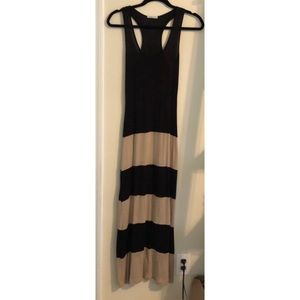 Black and Tan Wide Striped Maxi Dress