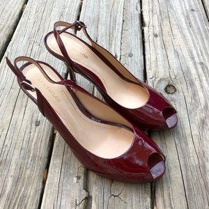 Ann Taylor Bordeaux Patent Peep Toe Heels 7