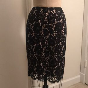 Vince Camuto Black Lace Pencil Skirt