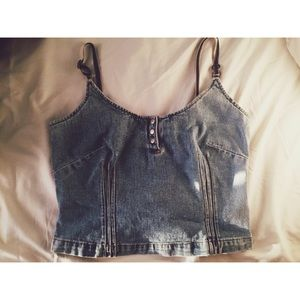 Vintage jean crop top