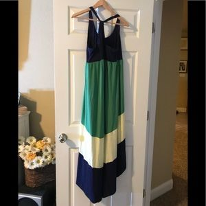 Colorblock blue green and yellow hi low dress