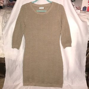Flawless Calvin Klein Taupe Ribbed Sweater Dress