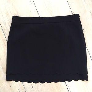LOFT Black Scalloped Hem Skirt