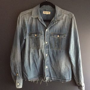 Madewell Cropped Denim Frayed Edge Button Up