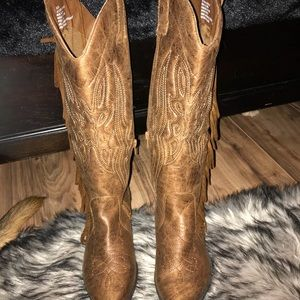 Shoes - Faux suede cowgirl boots size 5.5 camel colored