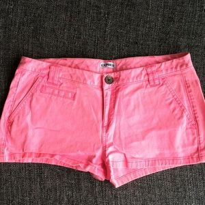 Express pink denim jean shorts