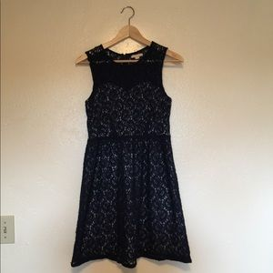 Navy Blue Paisley Lace dress by Tulle