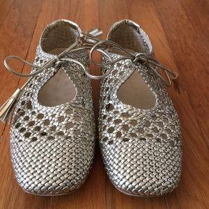 Zara gold woven sandals