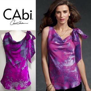 NEW CAbi fuchsia #102 Fit to be Tied 100% silk top