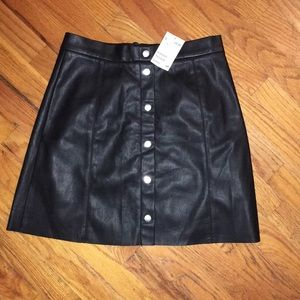 Button Up Leather Skirt