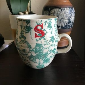 Anthropologie S Initial Monogram Floral Mug