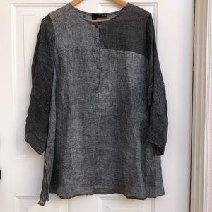 Eileen Fisher organic linen gray tunic small
