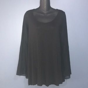 H&M sheer bell sleeve blk long sleeve shirt sz 4