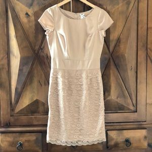 Dresses & Skirts - Lacey nude cocktail dress