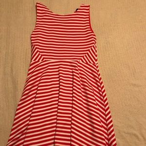 A-line striped red and white dress