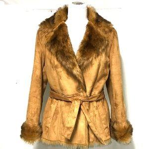 Halston faux fur faux suede coat