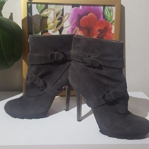 Suede leather grey ankle boots