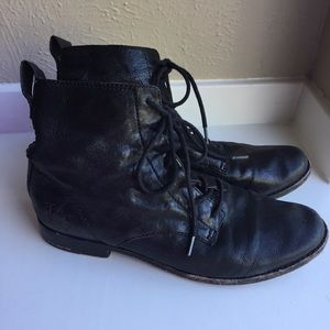 Frye boots lace up black leather Sz 7 short oxford