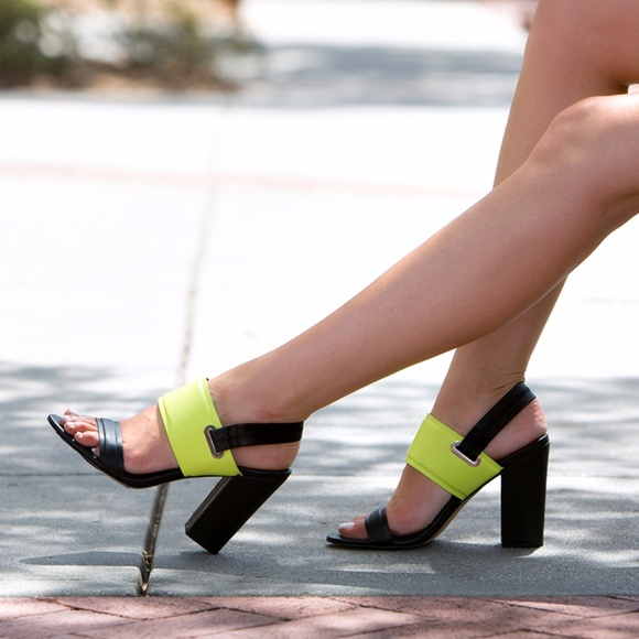 1ff6e81d8a75 Circus by Sam Edelman Shoes - Sam Edelman Nixon Black   Lime Green Sandal  Heels
