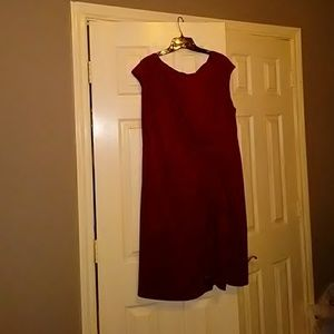 Dressy red dress with roses at hip