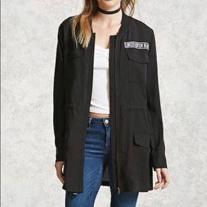 Black Drawstring Utility Jacket