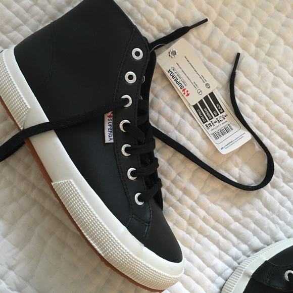 Superga High Top Black Leather Sneakers