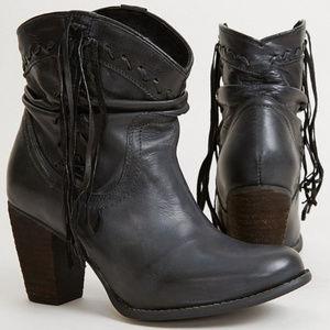 Leather black tassle booties