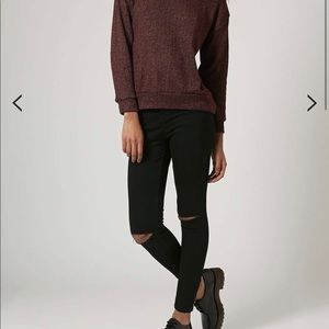 Topshop Jamie ripped knee black jeans 24