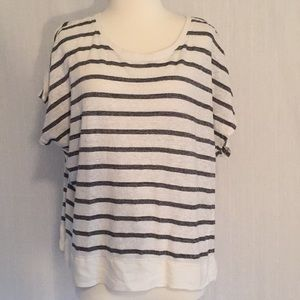 Cabi | black & white striped cropped sleeve top
