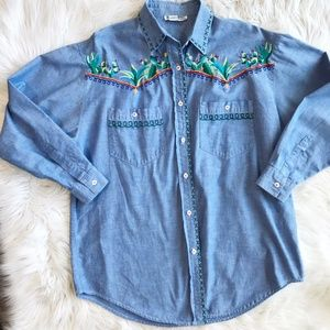 Vintage Denim Embroidered Cactus Button Down Shirt