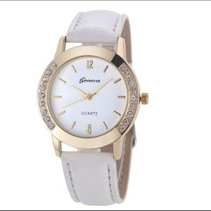 White Geneva Watch with Gold and Crystals