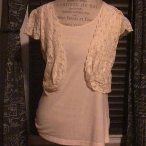 Arden B. Cream Lace Vest One Piece Top - Large