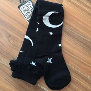Accessories - MOON & SUN LACE TRIM OVER THE KNEE SOCKS BLK/WHT