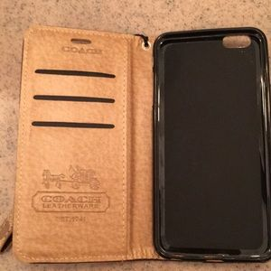 brand new 6419e a1806 Coach iPhone 6S plus leather wallet case