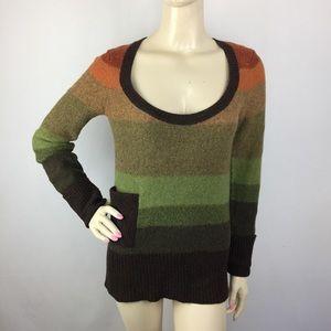Free People Wool Striped Scoop Neck Sweatshirt XS