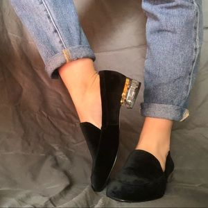Black velvet Umissit Loafers from Nine West