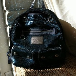 Blue Coach Poppy Sequin Backpack